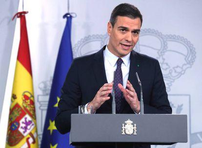 El presidente del Gobierno, Pedro Sánchez, en una rueda de prensa en el Palacio de la Moncloa.
