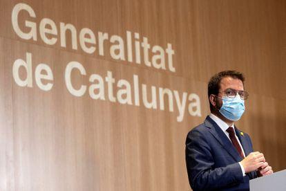El vicepresidente de la Generalitat en funciones, Pere Aragonès, en una rueda de prensa.