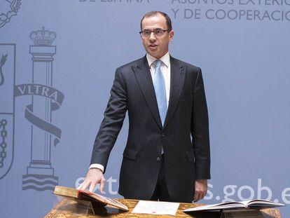 El diplomático Camilo Villarino, en su toma de posesión como jefe de Gabinete del entonces ministro de Exteriores, Alfonso Dastis, en 2017.