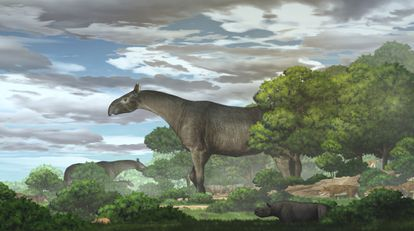 Interpretación artística del rinoceronte gigante ('Paraceratherium linxiaense') realizada por la Academia de Ciencias de China.
