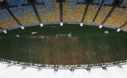 Césped degradado en Maracaná, el pasado 12 de enero.