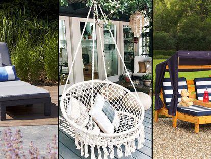 Escogemos una serie de mobiliario para el jardín o la terraza (como tumbonas, sillas o hamacas) para disfrutar del aire sin salir de casa.