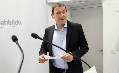 Arnaldo Otegi, coordinador general de EH Bildu, en una comparecencia reciente.