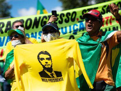 Una manifestación a favor de Bolsonaro, el pasado domingo en Brasilia.