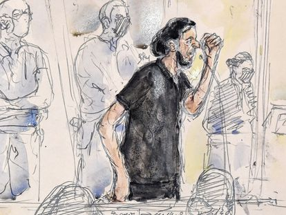 Retrato de Salah Abdeslam, el único superviviente de los comandos terroristas del 13-N durante la apertura del juicio por los atentados en París.