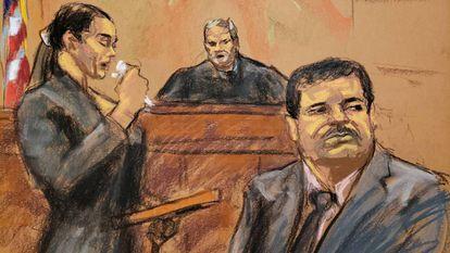 El Chapo, durante el anuncio de su sentencia, este miércoles.