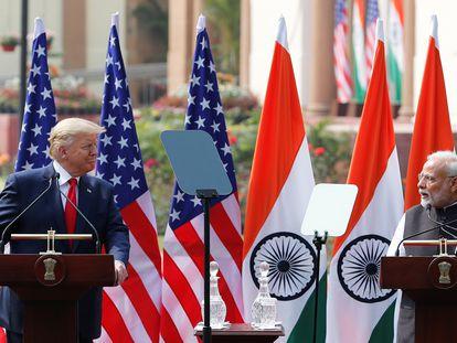 El presidente de Estados Unidos, Donald Trump, y el primer ministro de India, Narendra Modi, el pasado febrero en Nueva Delhi.