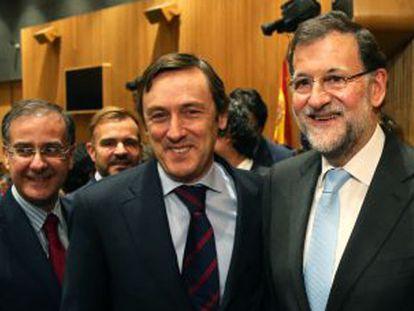 Mariano Rajoy con Rafael Hernando tras ser nombrado portavoz del PP.