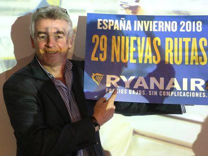 Michael O'Leary presenta las nuevas rutas de Ryanair en España.