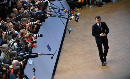 El presidente francés, Emmanuel Macron, en el último Consejo Europeo, el 10 de abril.
