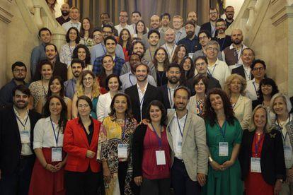 Algunos de los investigadores, con la aún secretaria de Estado, Carmen Vela.