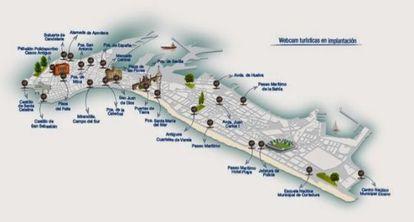 Mapa con las localizaciones de las nuevas cámaras, en Cádiz.