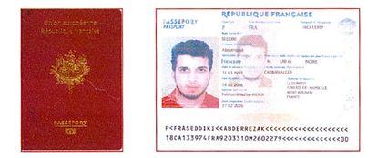 Imagen del pasaporte falso francés intervenido a Seddiki.