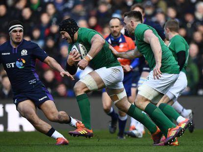 Sean O´Brien ataca durante el partido de Irlanda contra Escocia.