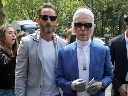 Sébastien Jondeau  y Karl Lagerfeld en la Semana de la Moda de París 2016.