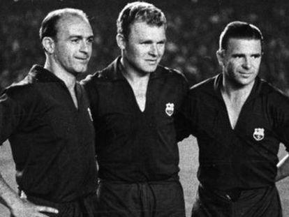 Di Stéfano, Kubala y Puskas, con la camiseta del Barça en la despedida del segundo como azulgrana en 1961.