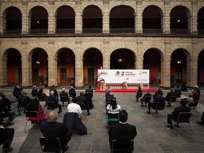 El Palacio Nacional, durante la presentación del informe este martes.