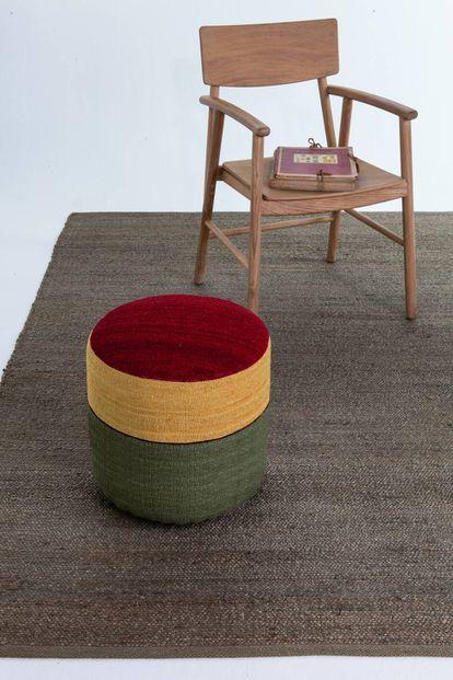 Los pufs de Nanimarquina incorporan base de abedul y tela 100% de lana de Nueva Zelanda.