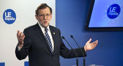 Mariano Rajoy, durante la rueda de prensa al término de la reunión de Bruselas de los líderes de la Unión Europea (UE).