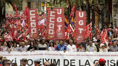 Manifestación del Primero de Mayo en Valencia.