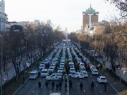 Desalojo de los taxistas de Paseo de la Castellana, el pasado 28 de enero.