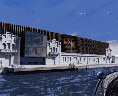 Imagen virtual del proyecto del Museo del Hermitage en el puerto de Barcelona.