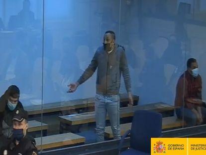 Banquillo de los acusados de formar parte de la célula yihadista que atentó en Cataluña el 17 de agosto de 2017, al comienzo del juicio en la Audiencia Nacional.