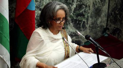 La recién elegida presidenta Sahlework Zewde, en Addis Abeba, este jueves.
