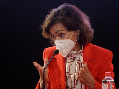 Carmen Calvo, vicepresidenta primera del Gobierno, el pasado miércoles durante un acto en la localidad cántabra de Potes.