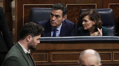 Rufián, Sánchez y Calvo, la semana pasada en el Congreso.