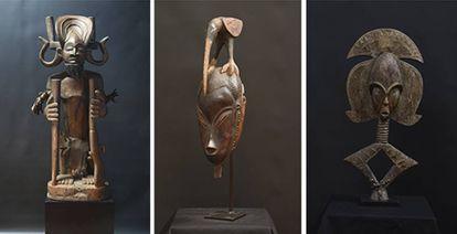 Desde la izquierda, 'Chibinda ilunga', de Angola ; 'Máscara con pájaro en la cabeza', del maestro Bouaflé (Costa de Marfíl) y 'Relicario', de Gabón