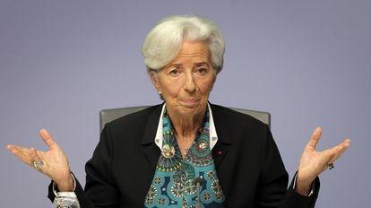 Christine Lagarde, presidenta del BCE, durante una rueda de prensa en diciembre.