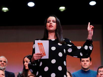 La candidata a la presidencia de Ciudadanos, Inés Arrimadas, en un acto de su candidatura.