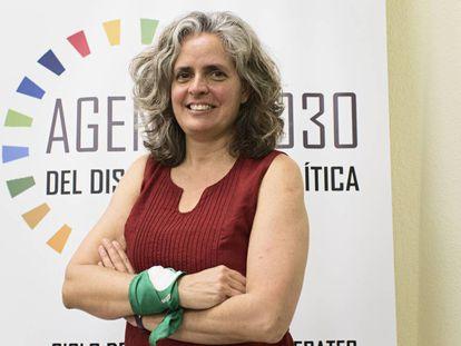 Corina Rodríguez tras su participación en un encuentro sobre mujeres en las agendas globales en Madrid.