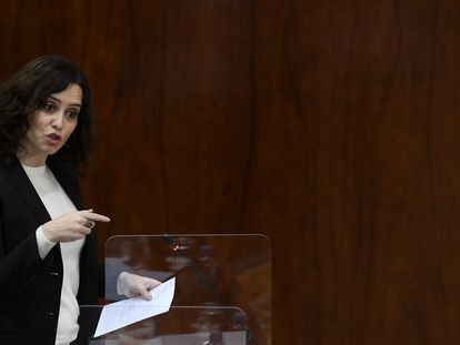 La presidenta regional, Isabel Díaz Ayuso, este jueves en la Asamblea de Madrid.