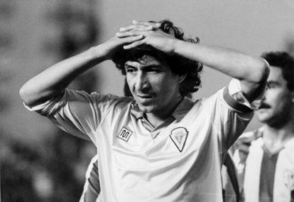 Mágico González con la camiseta del Cádiz.