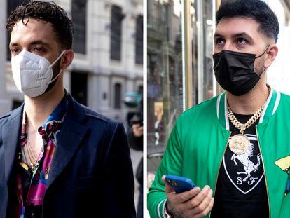 Los cantantes C. Tangana y Omar Montes, en Madrid el pasado 19 de febrero.