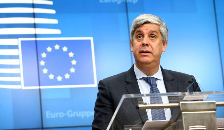 Mário Centeno, tras la reunión del Eurogrupo de febrero en Bruselas. / AFP