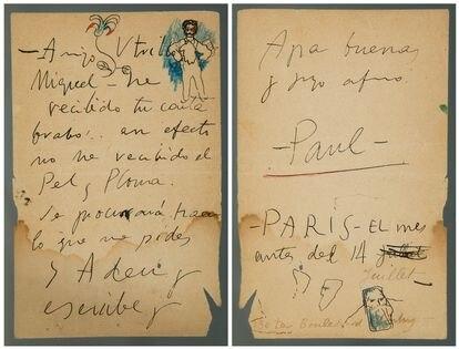 LA misiva firmada por Picasso de 1901 que se vende en Setdart de Barcelona.