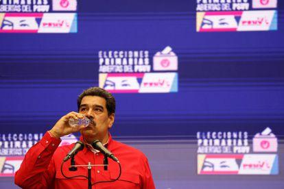 Nicolás Maduro durante una conferencia de prensa.