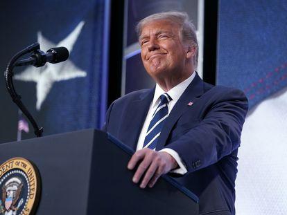 Donald Trump, dando un discurso este viernes.