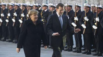 Merkel y Mariano Rajoy, durante el encuentro en Berlín.