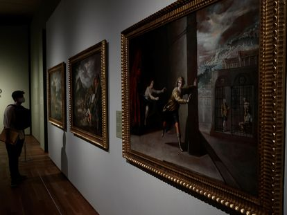 El cuadro 'La castidad de José' de Antonio del Castillo en la exposición 'El hijo pródigo de Murillo y el arte de narrar en el Barroco Andaluz' en el Museo del Prado.