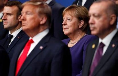 Emmanuel Macron, Donald Trump, Angela Merkel y Recep Tayyip Erdogan, en la cumbre de la OTAN de Watford (Inglaterra) en diciembre de 2019.