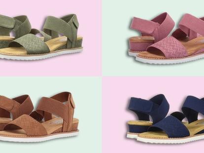Las sandalias están equipadas con una plantilla 'memory foam', incorporan una pequeña cuña, y se sujetan al tobillo.