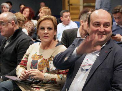 Andoni Ortuzar, en una asamblea nacional del PNV en Sabin Etxea.