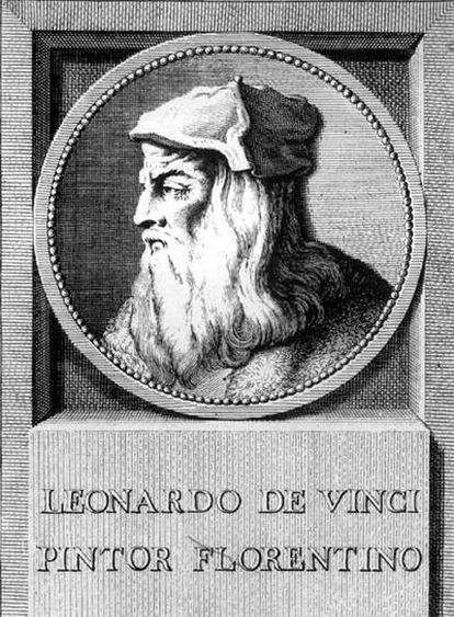 Leonardo Da Vinci, en  un grabado antiguo.
