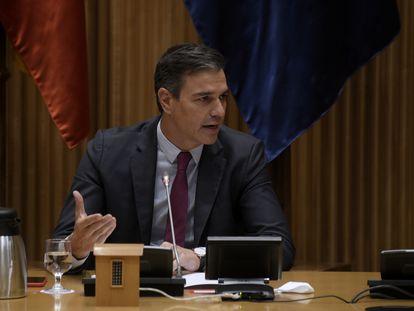 Pedro Sánchez interviene en la reunión interparlamentaria del Grupo Parlamentario Socialista en el Congreso, este miércoles.