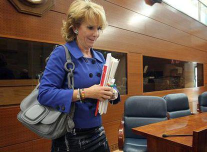 Esperanza Aguirre, presidenta de la Comunidad de Madrid, en la Asamblea regional.