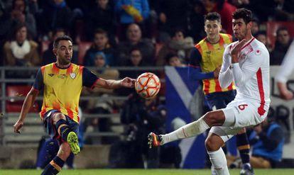 Xavi Hernández, en un momento del partido entre Catalunya y Túnez. (FCF).